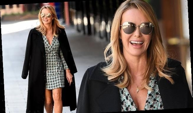 Amanda Holden stuns in a plaid blazer dress as she leaves work