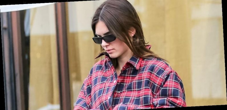 Kendall Jenner Rocks A Plaid Jacket While Shopping in LA
