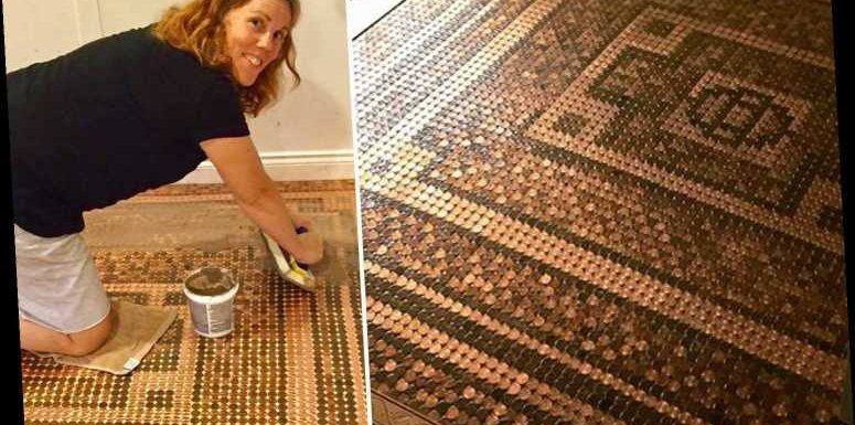 DIY fan covers floor in 7,500 pennies – and the finished result is amazing