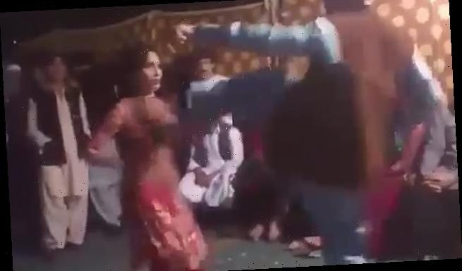 Shocking moment dancer is brutally kicked in Pakistan