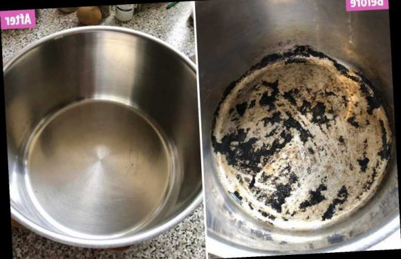 Woman who tried everything to clean her burnt non-stick pan gets it sparkling again in two simple steps