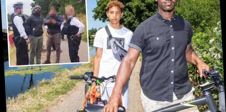 Black dad and son, 13, traumatised after being tackled by cops and threatened with Tasers during charity bike ride