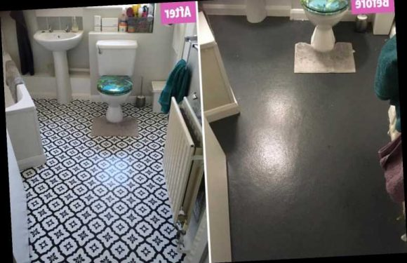 Mum updates her drab grey bathroom floor using £14 tile stickers from Dunelm after she didn't have time to stencil
