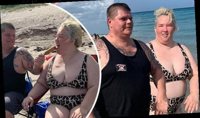 Mama June gets fed a corn dog by boyfriend Gino Doak during beach day