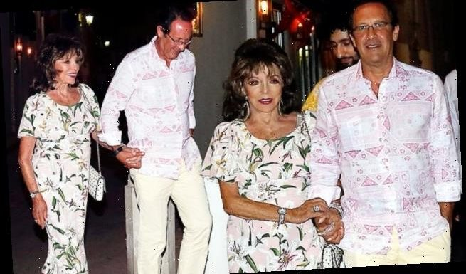 Joan Collins, 87, enjoys evening out with her husband Percy Gibson, 55