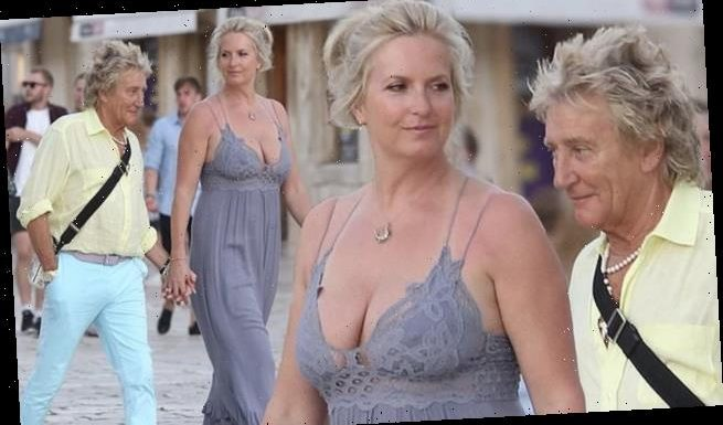Rod Stewart, 75, holds hands with wife Penny Lancaster, 49, in Croatia