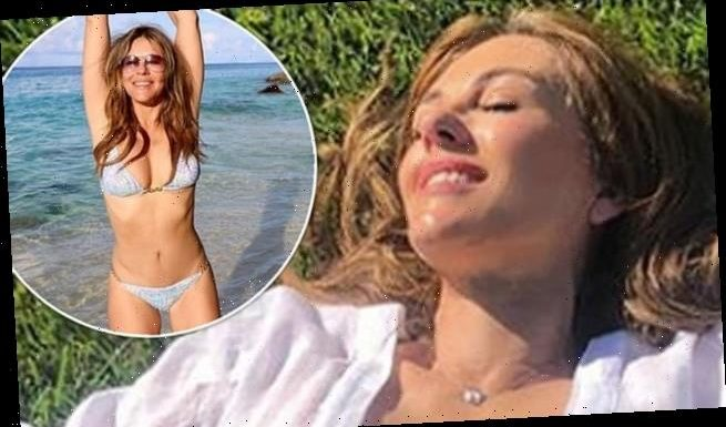 Elizabeth Hurley leaves little to the imagination as she poses topless