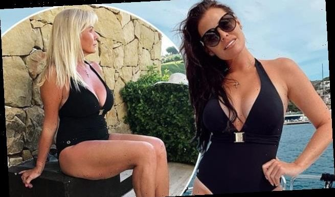 Jess Wright, 34, and mum Carol, 60, twin in matching swimsuits
