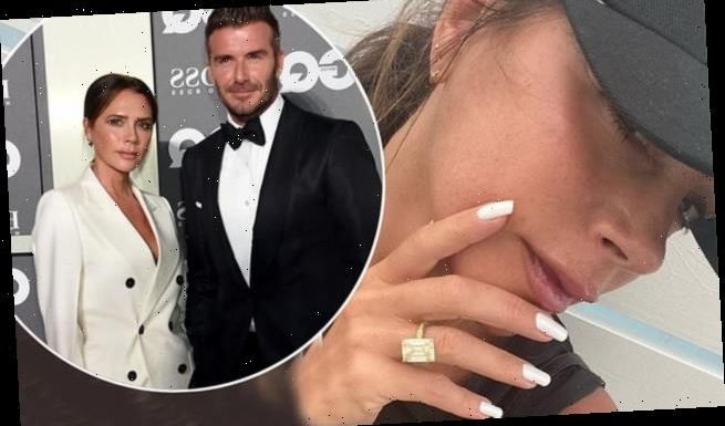 Victoria Beckham shows off one of her 14 engagement rings worth £120k
