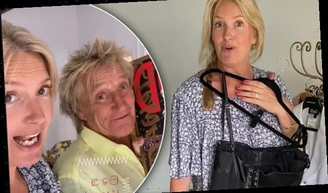 Penny Lancaster shows off corset-style dress as she donates to charity