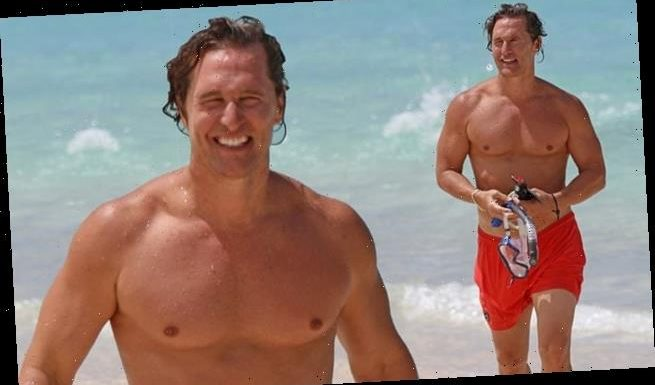Matthew McConaughey shows off his six-pack abs on a beach in Hawaii