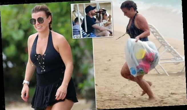 PIC EXC: Coleen Rooney enjoys a day by the sea with her family
