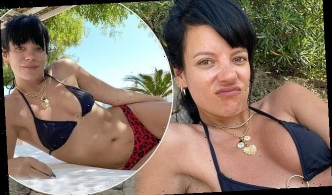 Lily Allen poses in black bikini after celebrating one year sober