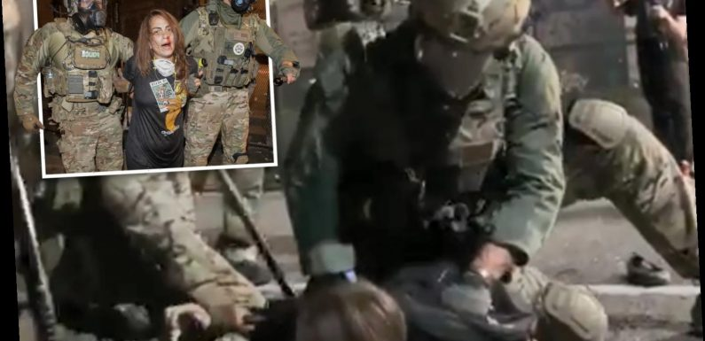 Woman bleeding from head yells 'I can't breathe' as federal officer kneels on her back during arrest