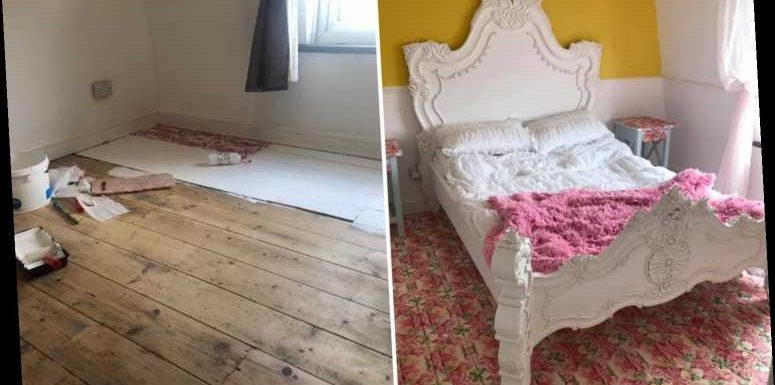 Thrifty gran uses paper serviettes and PVA glue to transform her bedroom floor for £12 – with matching bedside tables