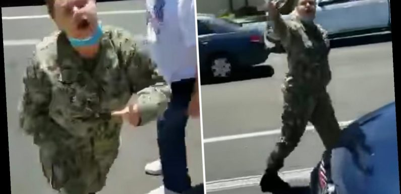 Uniformed Navy sailor caught on video screaming 'f**k Trump' at anti-mask protesters in California