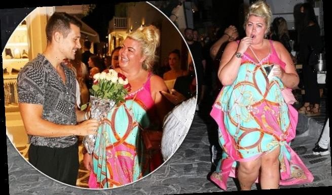 Gemma Collins looks delighted as she is presented with flowers