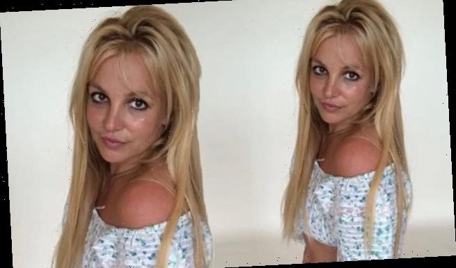Britney Spears shows off her toned figure in a crop top and shorts
