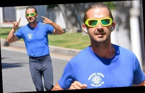 Shia LaBeouf looks amped up during his daily run