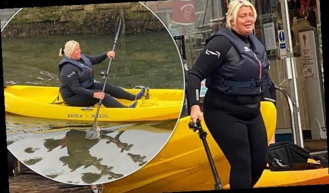 Gemma Collins dons wetsuit to go kayaking in the rain