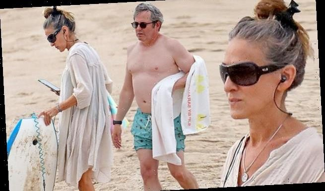 Sarah Jessica Parker heads to the beach with Matthew Broderick