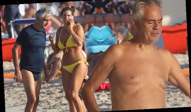 Andrea Bocelli goes shirtless on a yacht with his family in Sardinia