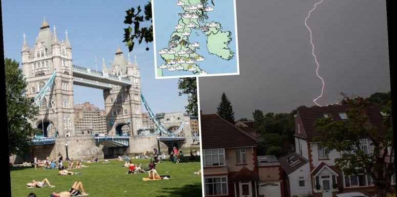 UK weather tomorrow – Thunderstorms to return in North of England and Wales as London enjoys 24C sun