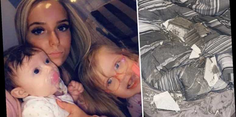 Mum, 21, and daughters, 1 and 3, 'covered in asbestos' after their ceiling collapsed onto them while they were asleep – The Sun