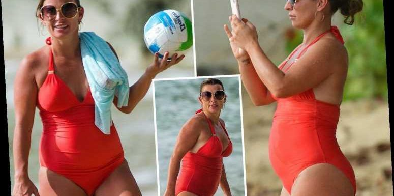 Coleen Rooney soaks up the sun in a red swimsuit on Barbados holiday after denying she's pregnant