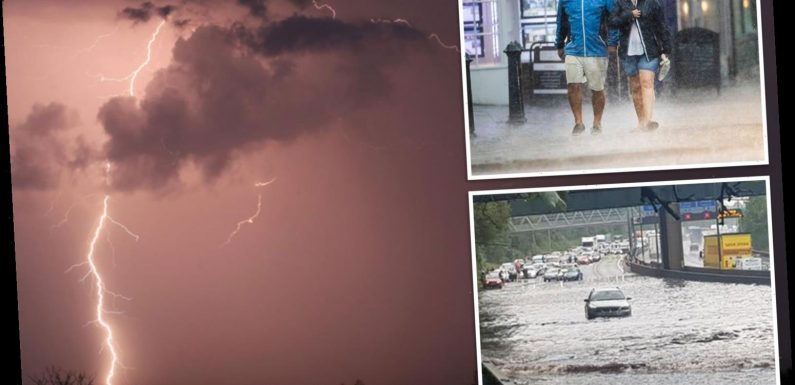 UK weather – Motorways flooded as more thunderstorms set to drench parts of Britain this weekend