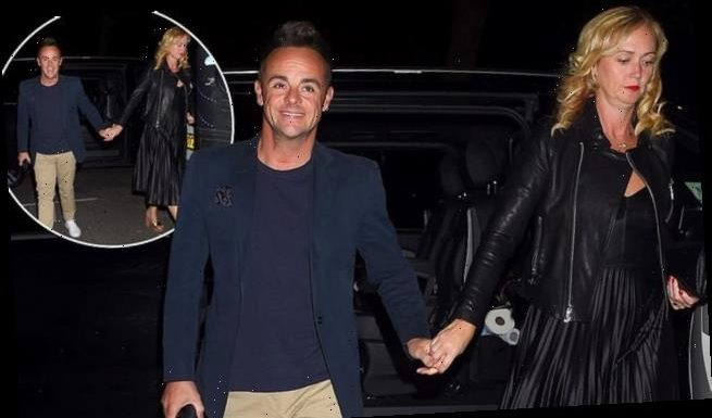 Ant McPartlin holds hands with his girlfriend Anne-Marie Corbett