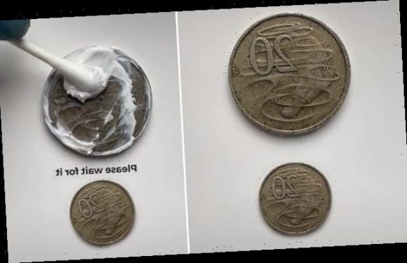 Mesmerising moment a man cleans almost 50 years of dirt off a 20c coin