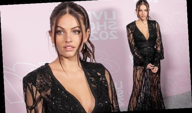Thylane Blondeau, 19, puts on a leggy display in  sequinned gown