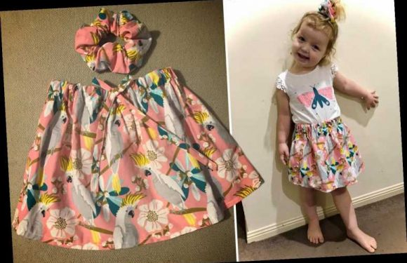 Mum makes a matching skirt and scrunchie for her kid for just £2.50 using tea towels & parents love the idea