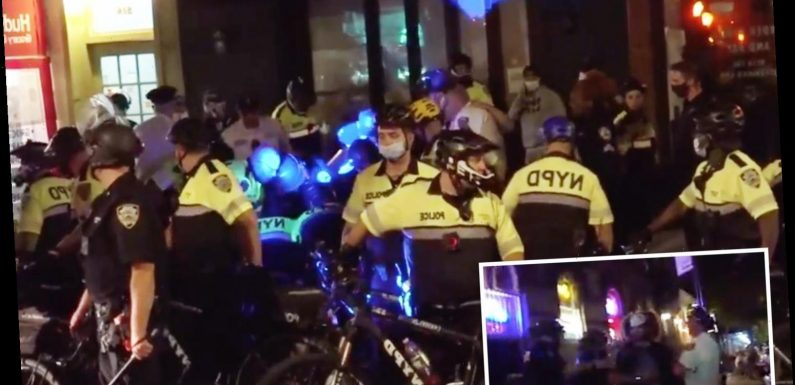 Wild video shows cops 'dressed in riot gear' clash with Black Lives Matter protesters in NYC