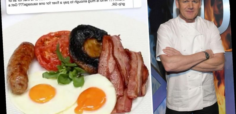 Gordon Ramsay mocked for 'overpriced' £19 fry up as Brits fume over Savoy Grill charging a FIVER for an extra sausage
