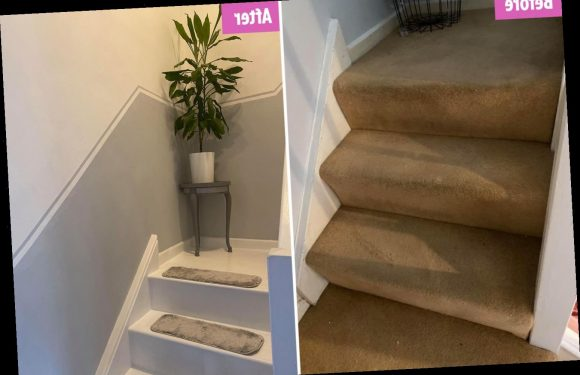 Woman totally transforms 'worn and dirty' stairs with a lick of paint and cheap carpet treads – The Sun
