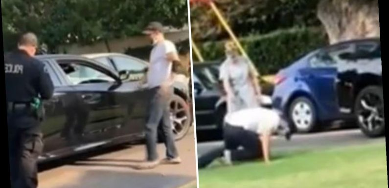 Video shows cops allowing 'drunk driver' to STUMBLE away after hitting into three cars despite being unable to stand