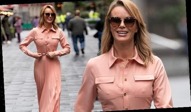 Amanda Holden steps out in a salmon pink shirt dress amid Ofcom row
