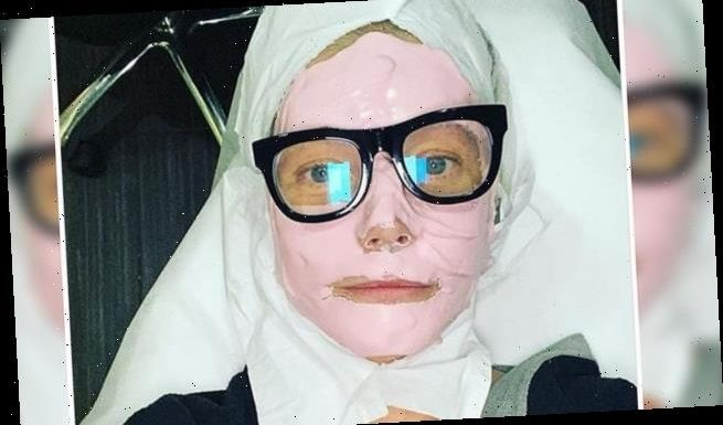 Gwyneth Paltrow, 48, pops specs over pink cosmetic face mask