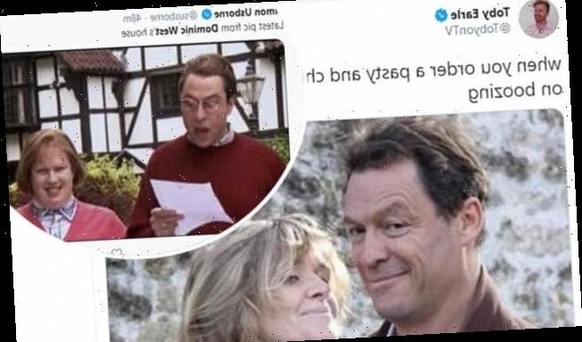 Dominic West becomes a viral meme after THAT smug photo kissing wife