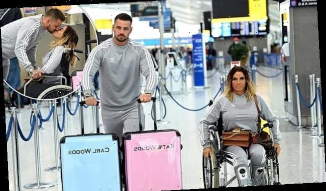 Katie Price and beau Carl flaunt matching 'Woods' suitcases at airport