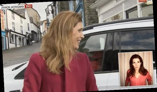 Sky News' Becky Johnson is almost run over during news report in Wales