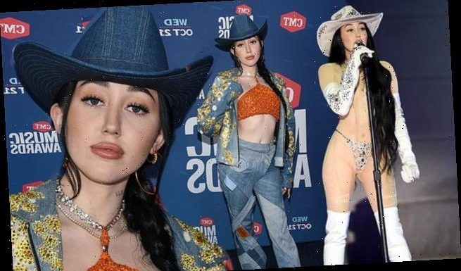 Noah Cyrus hits stage in nearly naked sheer look at CMT Music Awards