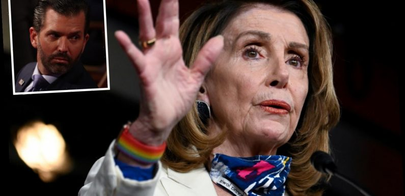 Donald Trump Jr slams 'Crazy Nancy' Pelosi for 'playing games and delaying second $1,200 stimulus checks'