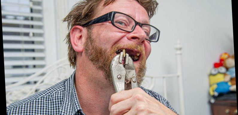 Dad, 42, pulls out front teeth with PLIERS after downing eight pints of Stella