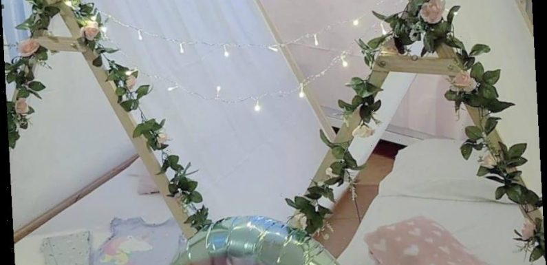 Mum creates magical snow scene sleepover using eBay tents & Poundland bargains and it's perfect for a movie night