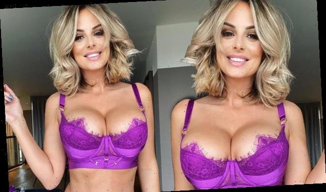 Rhian Sugden sets pulses racing in a TINY purple lingerie set