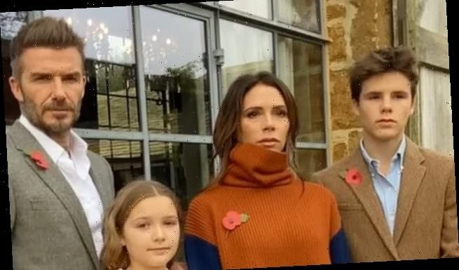 Victoria and David Beckham sport poppies for Remembrance Sunday