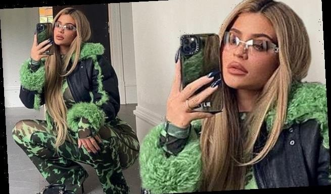 Kylie Jenner takes a fashion risk in a electric green and black jacket